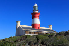 Cape Agulhas Lighthouse. The Cape Agulhas Lighthouse is situated at Cape Agulhas, the southernmost tip of Africa. It was the third lighthouse to be built in Royalty Free Stock Photography