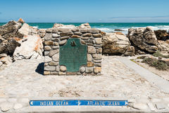 Cape Agulhas, the southernmost tip of Africa where Atlantic and Indian Oceans meet Royalty Free Stock Images