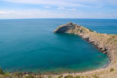 Cape and bay. Black Sea. Crimea. Ukraine Stock Image