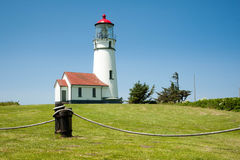 Cape Blanco Lighthouse. Decorative rope barrier in front of the Cape Blanco lighthouse in Oregon royalty free stock photos