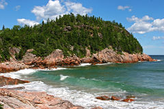 Cape Breton-Black Brook Cove. Black Brook Cove on the rugged eastern coastline of Cape Breton Highlands National Park, Cape Breton Island, Nova Scotia, Canada Stock Photos