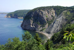 Cape Breton Coastline. The rocky cliffs of Cape Breton Island, Nova Scotia, Canada stretch along the coast royalty free stock photos