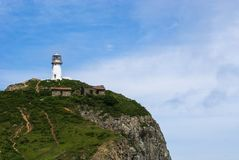 Cape Briner. Primorsky Krai.  lighthouse Rudny on top of a hill near the shore of the Japan sea royalty free stock image