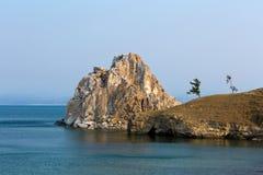Cape Burhan and shaman rock on Olkhon island on lake Baikal Royalty Free Stock Images