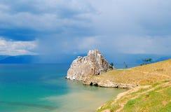 Cape Burkhan. Baikal lake, cape Вurkhan. Getting rainy Royalty Free Stock Images
