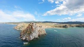Cape Burkhan lake Baikal. Aerial shot stock video