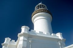 Cape Byron Light Australa Close View. Cape Byron Light in New South Wales in Australia. It is an active lighthouse located at Cape Byron, New South Wales Royalty Free Stock Photos
