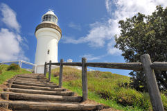 The Cape Byron lighthouse with wood stairs Royalty Free Stock Photo