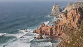 Cape Cabo da Roca at Atlantic coast, Portugal stock footage