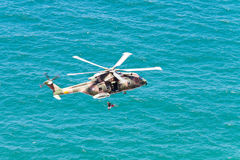 CAPE CABO DA ROCA, PORTUGAL - JULY 30: Military helicopter takes Royalty Free Stock Photo