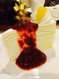 Cape cake. Layer cake  strawberry jam delecious Stock Photos
