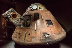 Cape Canaveral, Florida - 13. August 2018: Apollo 14 Capsuleat die NASA Kennedy Space Center stockfotos