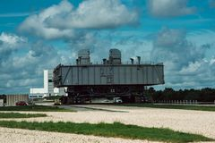 Cape Canaveral, Florida - 13. August 2018: Raumfähre-Transport an der NASA Kennedy Space Center stockbild