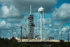 Cape Canaveral, Florida - 13. August 2018: Rocket Launch Pad an der NASA Kennedy Space Center lizenzfreies stockbild