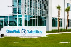 OneWeb Satellites. Cape Canaveral, Florida - May 12, 2019: OneWeb Satellites is a joint venture between Airbus and OneWeb. OneWeb produces low-earth orbit royalty free stock photos
