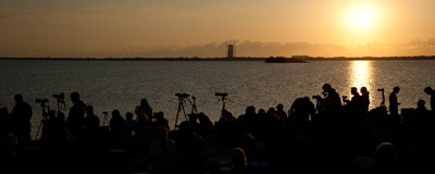 Cape Canaveral launch. Panorama of early morning launch of Endeavour STS-134 at Cape Canaveral, Florida Royalty Free Stock Photography