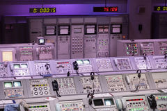 CAPE CANAVERAL, November 1th, 2014. : The NASA's Control Station displaying control panels, countdown clocks and communication dev Royalty Free Stock Image