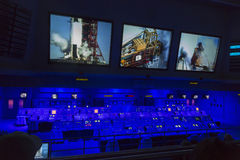 CAPE CANAVERAL, November 1th, 2014. : The NASA's Control Station displaying control panels, countdown clocks and communication dev Stock Photo