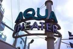 Cape Canaveral, U.S.A. - 29 aprile 2018: L'anfiteatro di Aqua Theater alla fodera di crociera o all'oasi della nave dei mari da r fotografie stock libere da diritti