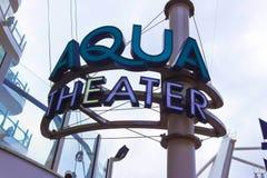 Cape Canaveral, U.S.A. - 29 aprile 2018: L'anfiteatro di Aqua Theater alla fodera di crociera o all'oasi della nave dei mari da r immagine stock