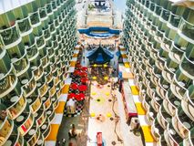 Cape Canaveral, USA - April 29, 2018: The Boardwalk, Aqua Theater amphitheater at cruise liner or ship Oasis of the Seas Stock Photos