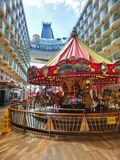 Cape Canaveral, USA - April 29, 2018: The Boardwalk at cruise liner or ship Oasis of the Seas by Royal Caribbean Stock Photography