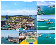 Cape Canaveral, USA. The arial view of port Canaveral from cruise ship stock image
