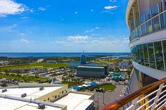 Cape Canaveral, USA. The arial view of port Canaveral from cruise ship. Docked in Port Canaveral, Brevard County, Florida Royalty Free Stock Photography