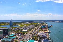 Cape Canaveral, USA. The arial view of port Canaveral from cruise ship. Docked in Port Canaveral, Brevard County, Florida Royalty Free Stock Image