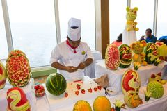 Cape Canaveral, USA - May 06, 2018: The chef presenting a culinary show on a cruise ship Oasis of the Seas by Royal stock photo