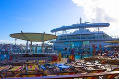 Cape Canaveral, USA - May 04, 2018: The upper deck with children`s swimming pools at cruise liner or ship Oasis of the. Cape Canaveral, USA - May 04, 2018: The Royalty Free Stock Images