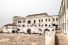 Cape coast castle in Ghana. The Cape Coast Castle in Ghana is one of about forty slave castles, or large commercial forts, built on the Gold Coast of West Africa Royalty Free Stock Image