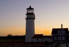 Cape Cod światło przy zmierzchem Obraz Royalty Free