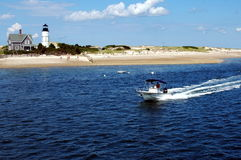 Cape Cod. Lighthouse and beach scene off Cape Cod Stock Images