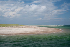 Cape Cod beach. View of colorful cape cod beach from the ocean in the summer time royalty free stock photos