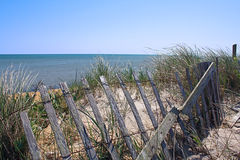 Cape Cod Beach Dune and Snow Fence Royalty Free Stock Photos