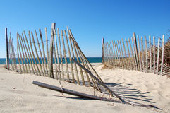 Cape Cod Beach Scene. Cape Cod Beach Fence and Sea Shells stock images