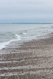 Cape Cod Beach Waves Gray Cloudy Day Stock Photography