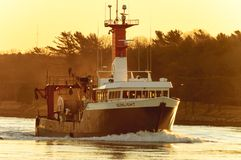 Cape Cod Canal Fishing vessel Sunlight Stock Photos