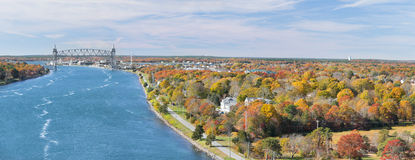 Cape Cod Canal and Train Bridge Stock Image
