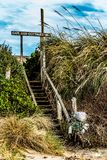 Stairway from the Beach to the Cape Cod Cottages stock image