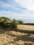 Cape Cod Fence. View of the ocean in Eastham, Massachusetts on Cape Cod stock photography
