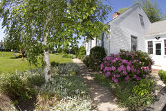 Cape Cod Home. Cape Code home with spring flowers in bloom, taken with fish-eye lens for more interest Stock Image