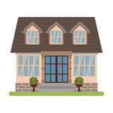 Cape cod house vector. Modern country house in Cape cod style. Vector illustration of a tourist house for rent, sale, booking and living, isolated on white Royalty Free Stock Photo