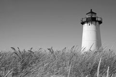 Cape Cod lighthouse. Lighthouse at Martha's Vineyard- black and white Royalty Free Stock Photos