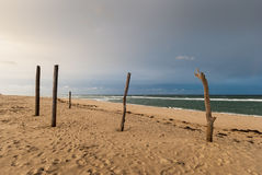 Cape Cod in November. Deserted beach in cloudy weather, Cape Cod, Massachusetts Stock Photo