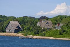 Cape Cod Shoreline. Homes along the shoreline of Woods Hole, Cape Cod, Massachusetts Royalty Free Stock Images