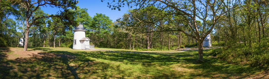 Cape Cod Three Sisters Lighthouses Panorama view royalty free stock photos