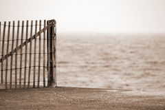 Cape Cod Wooden Fence on Beach Stock Photos
