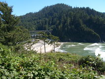 Cape Creek Bridge. Bridge on the central Oregon coast. Great architecture and scenic location stock photography